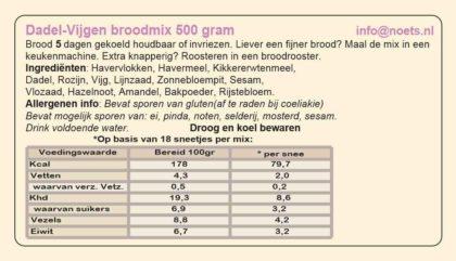 Etiket van Dadel-vijgen broodmix van Noets.