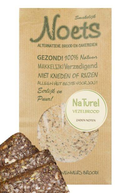 Noets naturel vezelbrood met zaten en noden, een heerlijke natuurlijke broodmix.