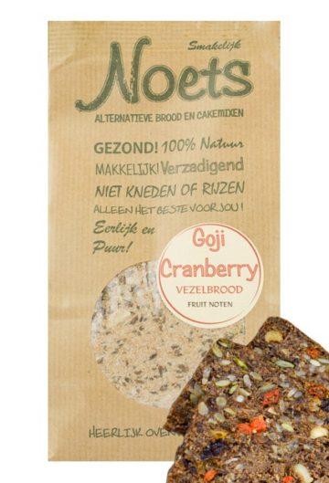 Heerlijk Goji Craneberry Vezelbrood met fruit en noten. Het gezonde alternatief van Noets.