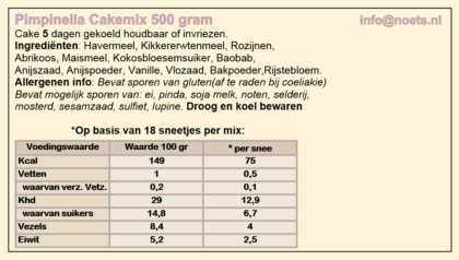 Noets pimpinella cakemix 500 gram
