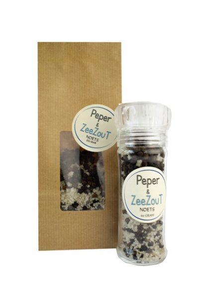 Zwarte peper en zeezout navulverpakking van Noets.
